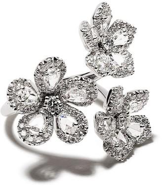 David Morris 18kt white gold diamond Miss Daisy triple flower ring
