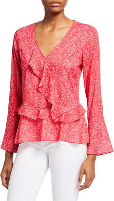 Parker Floral Long-Sleeve Ruffled Blouse