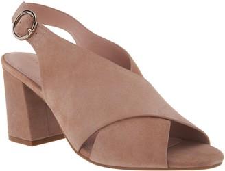 Taryn Rose Suede Block Heeled Sandals - Lenora