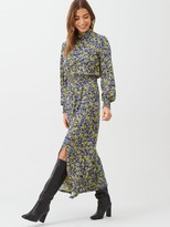 Very Ditsy Shirred Cuff Split Front Midi Dress - Purple/Floral