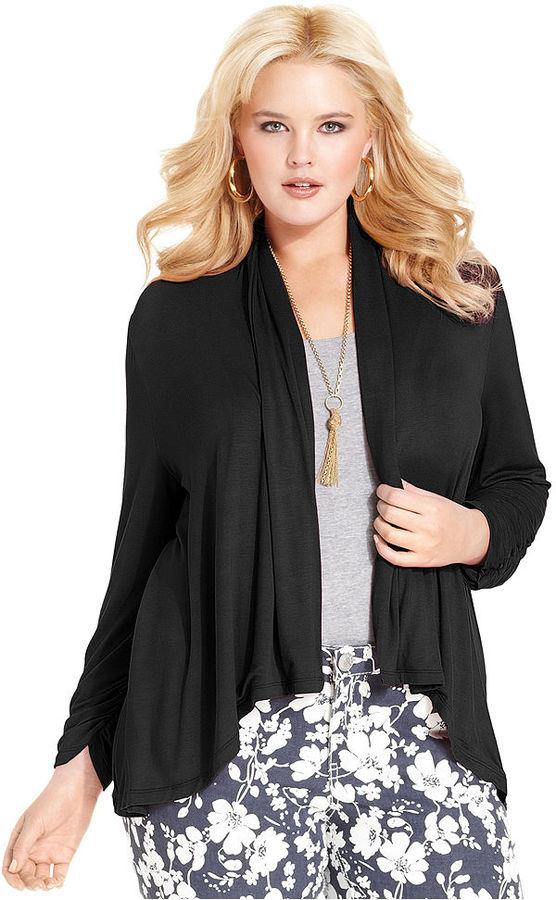 Cha Cha Vente Plus Size Sweater, Long Sleeve Draped Cardigan