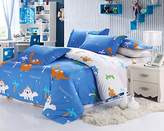 MeMoreCool Home Textile Cute Kids Students Bedding Set Cartoon Dinosaur Pattern Duvet Cover Boys and Girls 100% Cotton Bedding Fillet Bed Sheets Full Size 4Pcs
