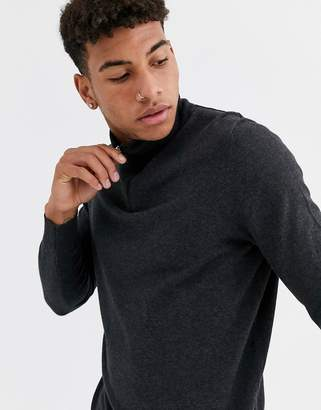 Burton Menswear knitted half zip jumper in grey