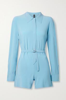 Norma Kamali Belted Stretch-jersey Playsuit - Light blue