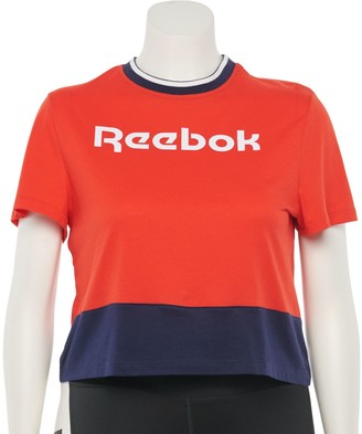 Reebok Plus Size Training Essentials Linear Logo Crop Tee