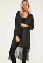 Missguided Black Satin Lace Hem Duster Coat