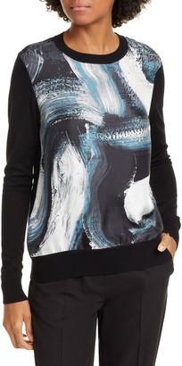 Diane von Furstenberg Bronson Brushstroke Print Silk & Wool Sweater