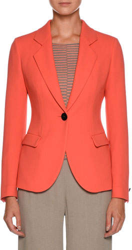 Giorgio Armani Notched-Lapel One-Button Wool Jacket
