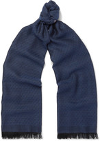 Isaia - Fringed Cashmere And Silk-blend Jacquard Scarf