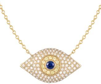 Saks Fifth Avenue 14K Yellow Gold, Sapphire & Diamond Evil Eye Pendant Necklace