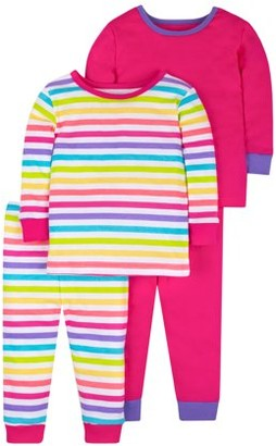 Little Star Organic Baby & Toddler Girls Brights Snug Fit Cotton Long Sleeve Pajamas, 4-Piece Set