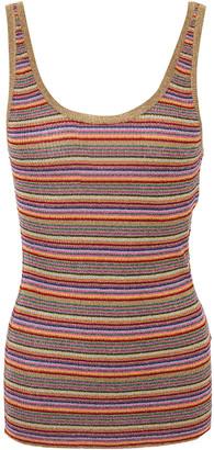 BA&SH Stay Striped Metallic Ribbed-knit Tank