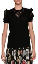 Dolce & Gabbana Short-Sleeve Crewneck Pullover Wool-Blend Top w/ Lace Inserts