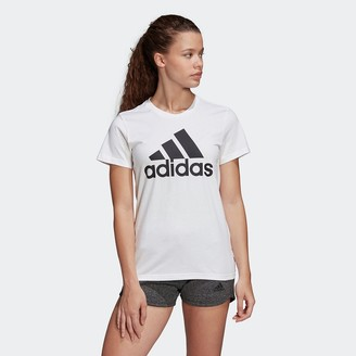 adidas Cotton Crew-Neck T-Shirt with Logo and Short Sleeves