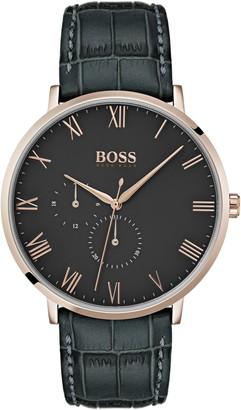 HUGO BOSS Men's William Leather Strap Watch, 40mm