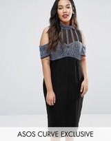 Asos Embellished Stripe High Neck Cold Shoulder Midi Dress