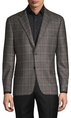 Hickey Freeman Standard-Fit Check-Print Cashmere Blazer