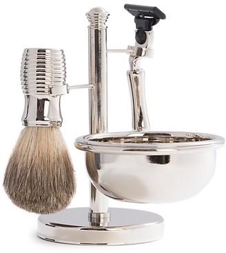 Bey-Berk 3-Piece Mach3 Razor, Badger Brush Soap Dish Travel Set