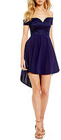 B. Darlin Off-The-Shoulder High-Low Fit-and-Flare Dress
