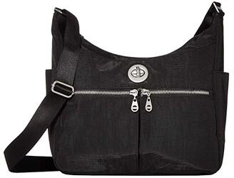 Baggallini International Bristol RFID Crossbody Hobo (Black) Handbags