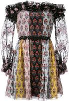 Giamba printed off shoulder dress - women - Silk/Polyester - 42