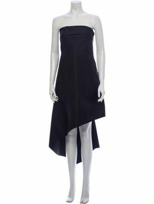 Oscar de la Renta Silk Knee-Length Dress Black