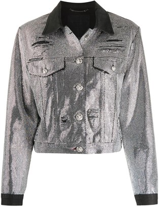 Philipp Plein Crystal-Embellished Denim Jacket