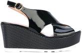 Pollini open toe wedge sandals - women - Leather/Polyurethane/rubber - 38