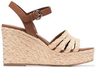 Prada beige Raffia 105 leather wedges