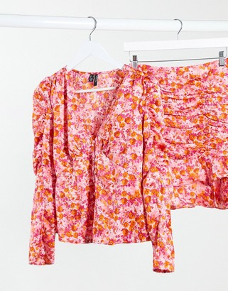 Vero Moda co-ord blouse with puff sleeve in pink floral