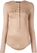 Balmain long sleeve slub jersey top - women - Linen/Flax/Viscose - 34