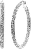 Diamond Essence Crystal & Diamond Accent Sterling Silver Inside-Out Hoop Earrings - Made with Swarovski Crystals