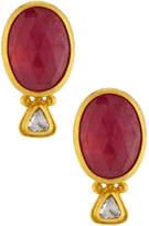 Gurhan Oval Ruby & Diamond Button Earrings