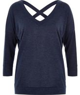 River Island Womens Navy knitted cross back sweater