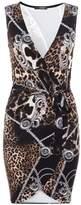 Quiz Black Multi Scarf Print Wrap Front Dress