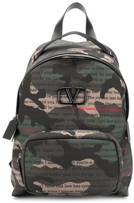 Valentino VLOGO camouflage print backpack