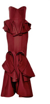 Zac Posen Ruffled-Hem Silk Faille Gown Burgundy