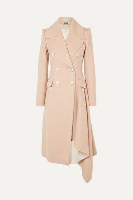 Alexander McQueen Asymmetric Double-breasted Frayed Wool And Cashmere-blend Coat - Beige