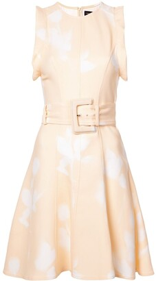 Proenza Schouler Rose Imprint Belted Dress
