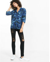 Express Blue Camouflage Silky Soft Twill Boyfriend Shirt