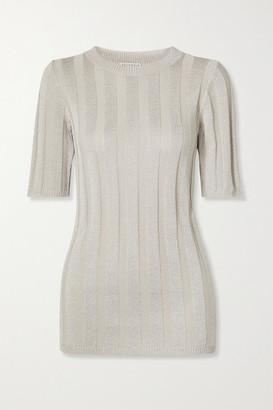 Brunello Cucinelli Ribbed Metallic Cotton-blend Sweater - Light gray