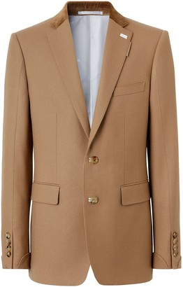 Burberry English Fit Velvet Collar Wool Flannel Tailored Jacket