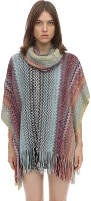 Missoni Hooded Wool Blend Knit Poncho
