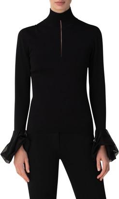 Akris Flounce Cuff Silk Turtleneck Sweater