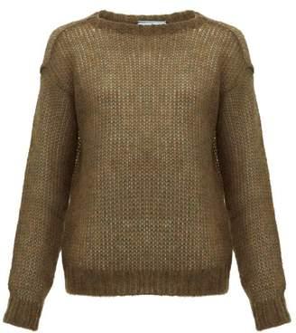 Prada Dropped Shoulder Mohair Blend Sweater - Womens - Dark Green