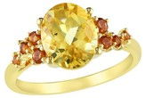 Allura 3.4 CT. T.W. Oval Citrine and .06 CT. T.W. Madeira Citrine Ring in Yellow Rhodium Plated Silver