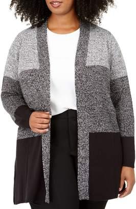 Karen Scott Plus Colorblock Open-Front Cardigan