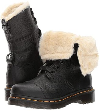Dr. Martens Aimilita FL 9-Eye Toe Cap Boot (Black Aunt Sally) Women's Boots