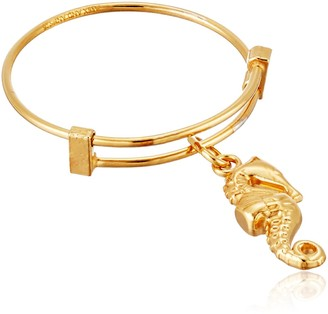 Alex and Ani Expandable Wire Ring Seahorse 14k Gold Plated Stackable Ring Size 7-9