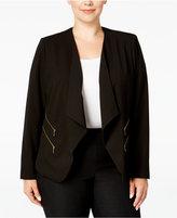 Calvin Klein Plus Size Drape-Front Cutaway Jacket